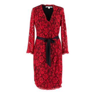 Diane von Furstenberg Red Lace Wrap Dress