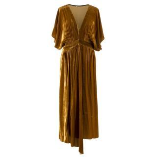 Masscob Velvet Draped Midi Dress