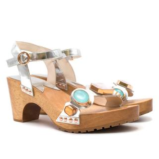 Sophia Webster Wooden Embellished Platform Sandals