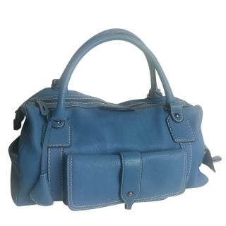 Tod�s Bensenville Piccola Boston in Blue Pebbled Leather