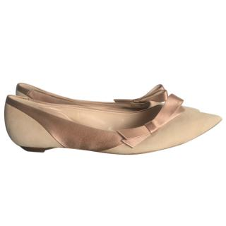 Chloe Nude Suede and Satin Ballet flats