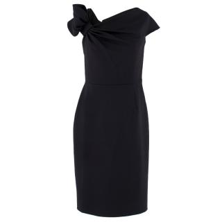 Valentino Black Fitted Bow Shoulder Wool Blend Dress