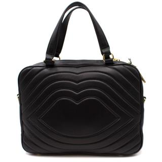 Lulu Guinness Black Leather Bag with Red Lips Pouch