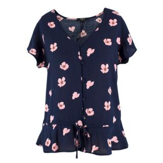 Rails Navy and Floral Button-Up Top