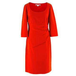 Diane von Furstenberg Red Gathered Midi Dress