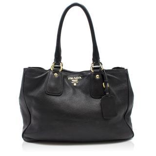 Prada Black Soft Leather Tote Bag