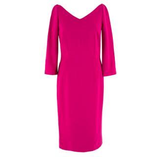 Dolce & Gabbana Fuscia V-Neck Midi Dress