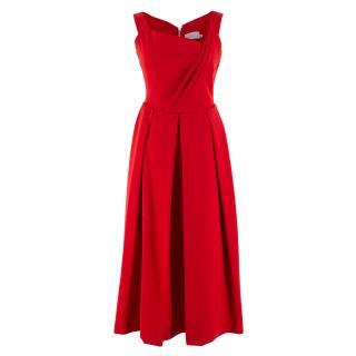 Preen by Thornton Bregazzi Red Pleated Maxi Dress