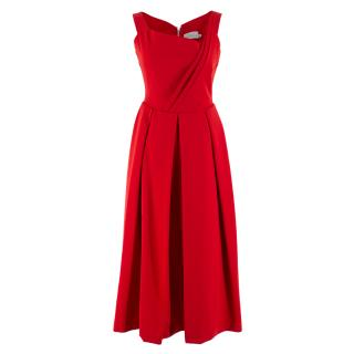 Preen by Thornton Bregazzi Red Pleated Maxi Dress