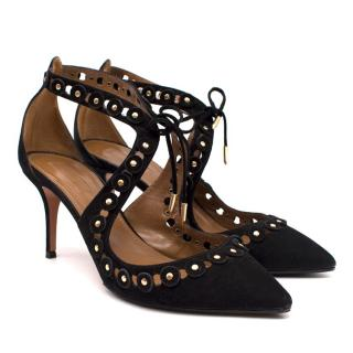 Aquazzura Suede Studded Low Heeled Sandals