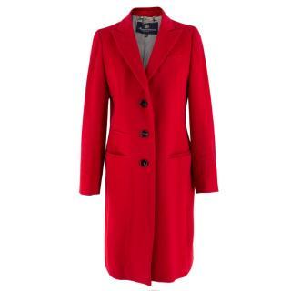 Aquascutum Classic Red Wool Coat