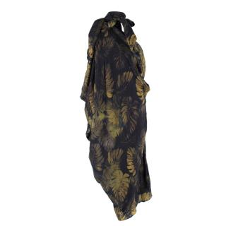 Lanvin Silk Black Leaf Print Kaftan Dress