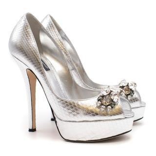 Dolce & Gabbana Metallic Silver Embellished Platform Pumps