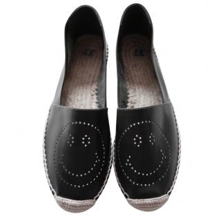 Anya Hindmarch Smiley Black Leather Espadrilles