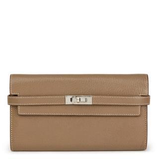 Hermes Etoupe Chevre Mysore Kelly Long Wallet