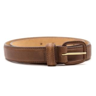 Giorgio Armani Brown Lizard Embossed Leather Belt