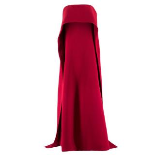 Kaufmanfranco Blood Red Strapless Cape Flair Column
