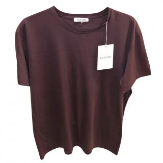 Valentino Men's burgundy rockstud t-shirt