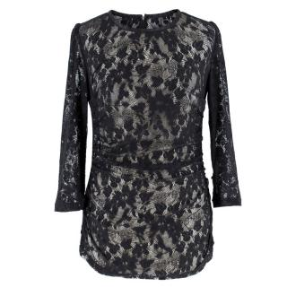 Dolce & Gabbana Sheer Lace Bodycon 3/4 Sleeve Top
