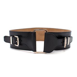 Michael Kors Wide Buckled Black Waist Belt