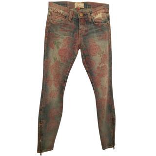 Current Elliott rose printed skinny jeans