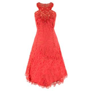 Marchesa Notte Red Lace Embellished Dress