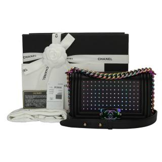 Chanel Small LED Boy Black Lambskin Bag with Rainbow Hardware