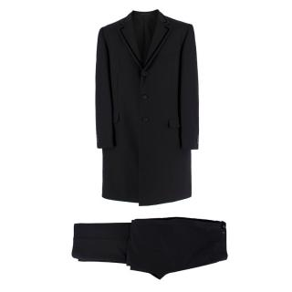 Versace Black and Navy Longline Tailored Suit