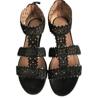 Alaia Black Lasercut Sandals