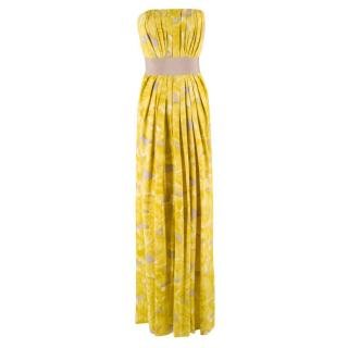 Carolina Herrera Floral Strapless Silk Gown