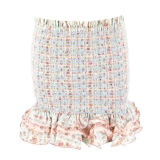 Petersyn Barrett Tweed Ruffle Mini Skirt