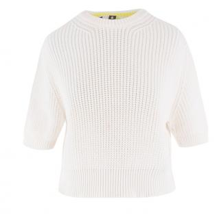 MSGM White Cropped Knit Sweater