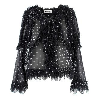 Koche Ruffled Lace-Up Polka Dot Silk Blouse