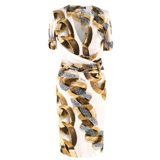 Roberto Cavalli Chain Printed Wrap Dress