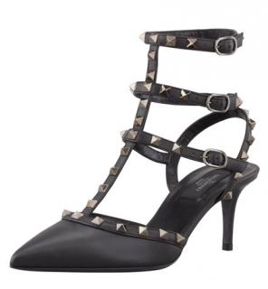 Valentino  Black Rockstud Kitten Heel Sandals