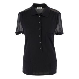 Philosophy di Alberta Ferretti Black Sheer Panelled Top