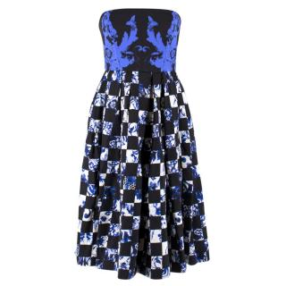 Tibi Strapless Printed Tea Dress