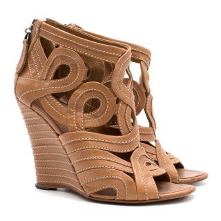 Alaia Brown Leather Lasercut Wedges