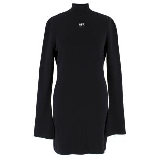 Off White Black Turtle Neck Knit Jumper Dress