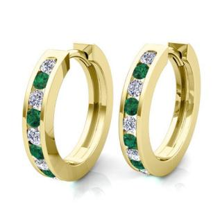 GoldTouch 'Isabella' 18kt small gold & emerald hoop earrings