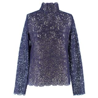 Koche Purple Lace High Neck Top