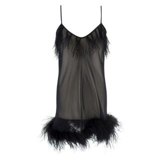 Myla Sheer Black Feather Trim Babydoll