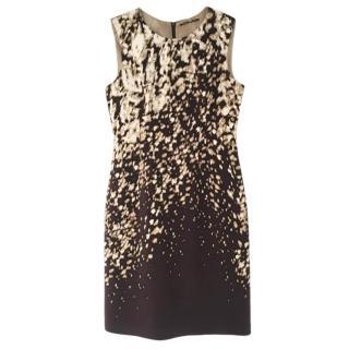 Elie Tahari dark purple-brown and cream silk  fitted dress