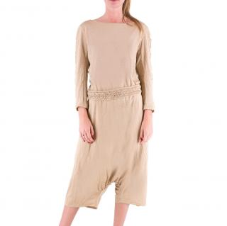 Yves Saint Laurent Nude Draped Short Jumpsuit