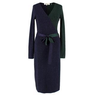 Diane Von Furstenberg Metallic Wool Wrap Dress