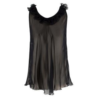 Myla Black Silk Sheer Ruffled Top