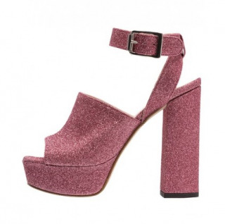 Pinko pink glitter block heeled sandals