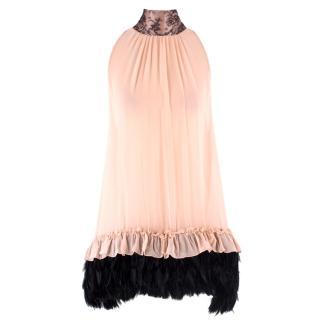 Myla Pink Silk Feathered Babydoll