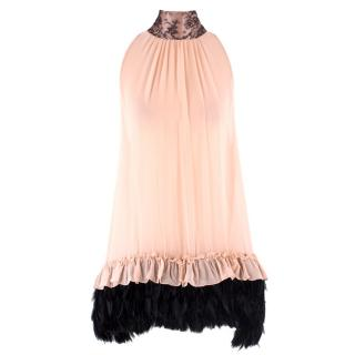 Myla Pink Silk Feathered Babydoll