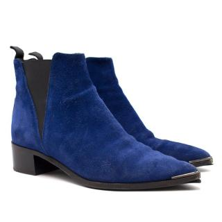 Acne Studios Blue Suede Chelsea Boots
